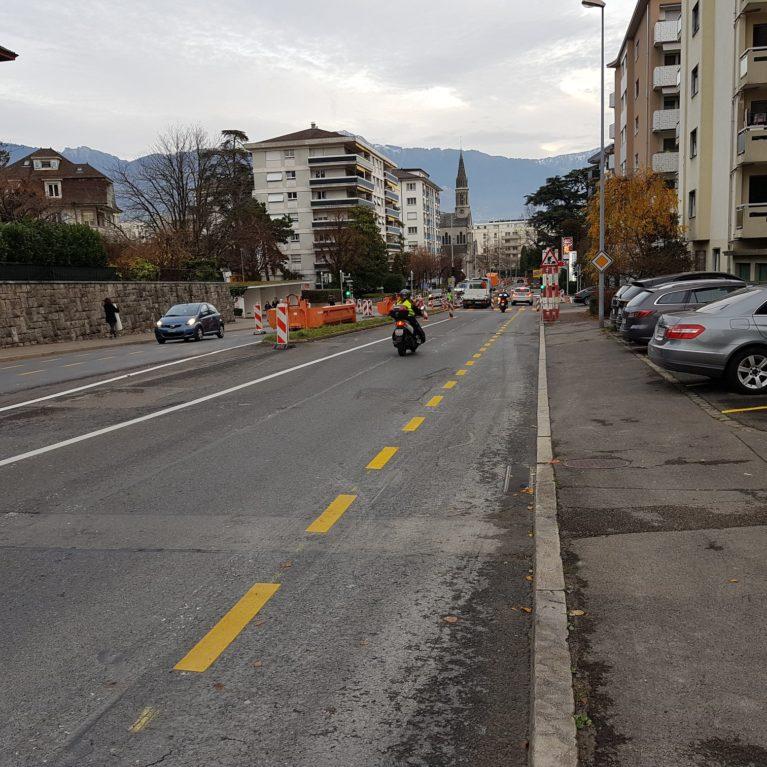 Bandes cyclables à l'essai le long de l'avenue de la Gare